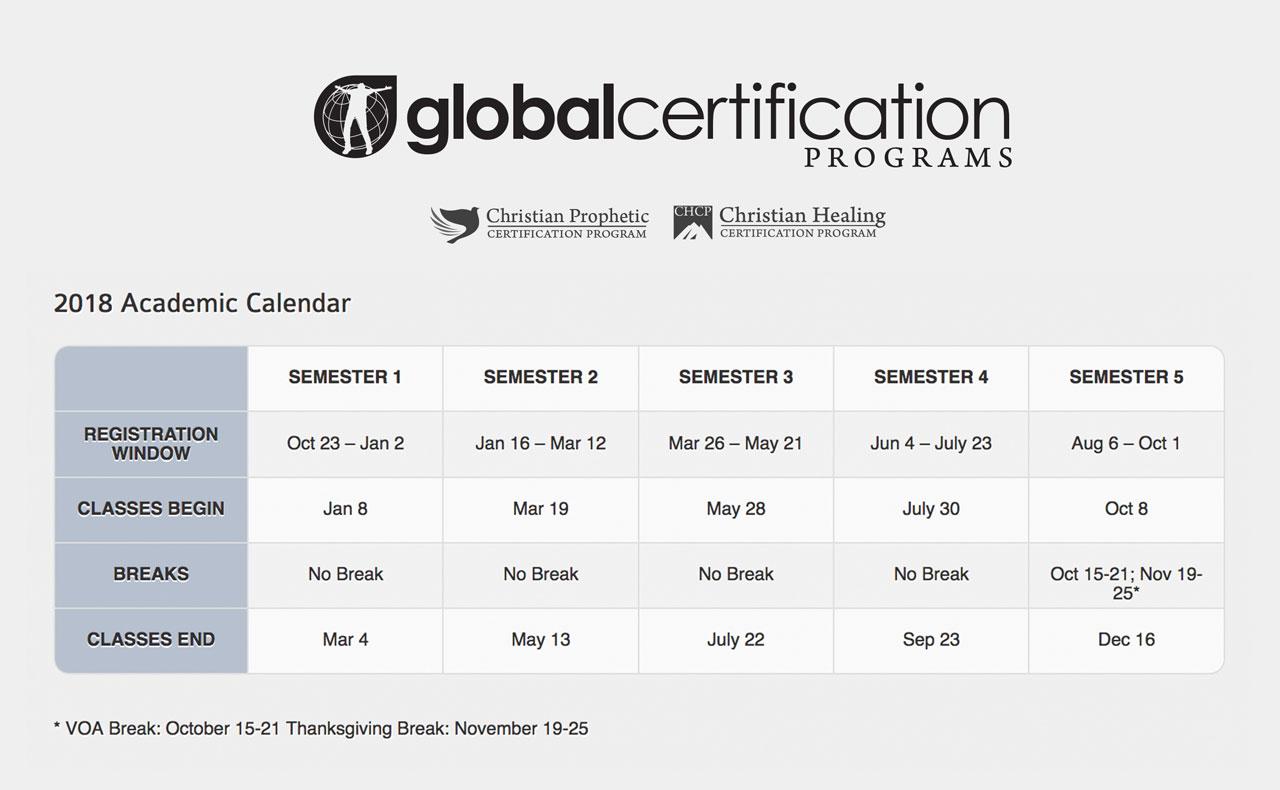GCP Academic Calendar 2018