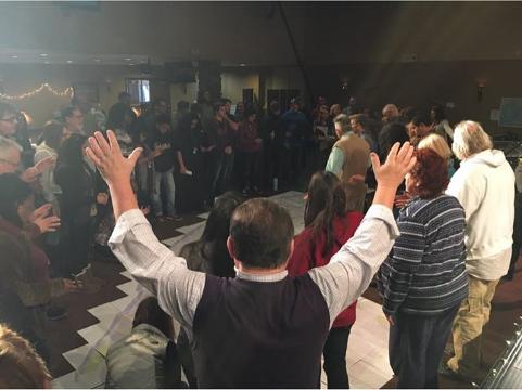 GSSM team praying for the city of Harrisburg